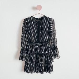 Bebe Black Polka Dot Tiered Dress